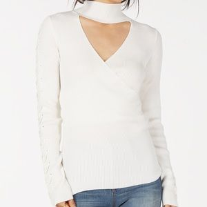 Juniors Choker-Neck Ribbed Sweater color